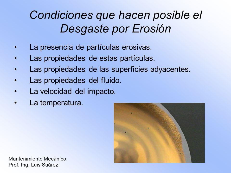 Condiciones que hacen posible el Desgaste por Erosión La presencia de partículas erosivas. Las propiedades de estas partículas. Las propiedades de las