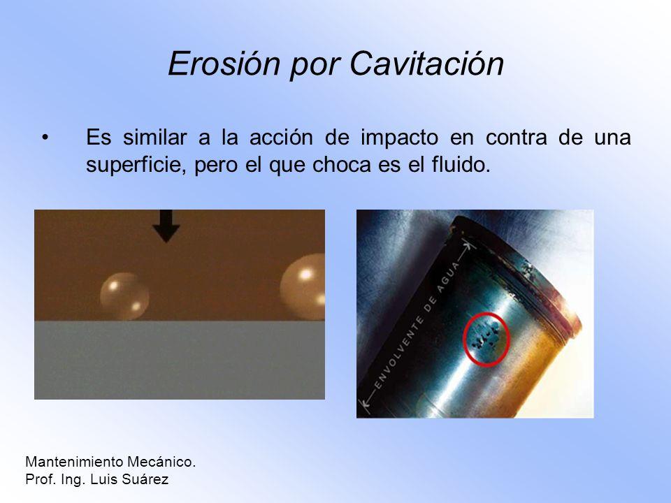 Erosión por Cavitación Es similar a la acción de impacto en contra de una superficie, pero el que choca es el fluido. Mantenimiento Mecánico. Prof. In