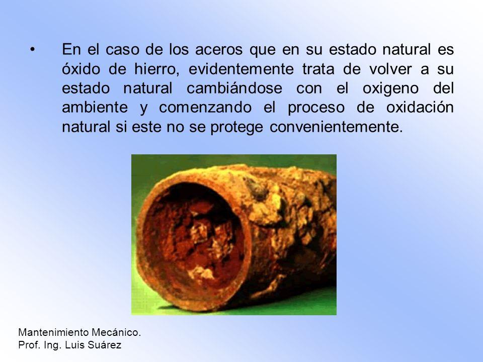 En el caso de los aceros que en su estado natural es óxido de hierro, evidentemente trata de volver a su estado natural cambiándose con el oxigeno del