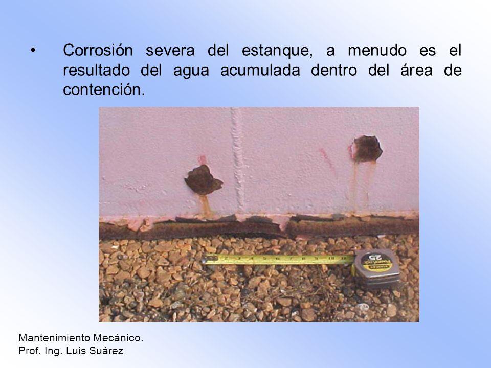 Corrosión severa del estanque, a menudo es el resultado del agua acumulada dentro del área de contención. Mantenimiento Mecánico. Prof. Ing. Luis Suár