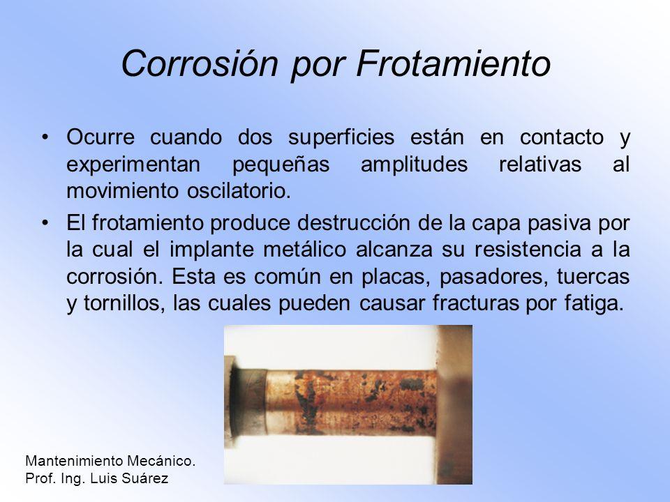 Corrosión por Frotamiento Ocurre cuando dos superficies están en contacto y experimentan pequeñas amplitudes relativas al movimiento oscilatorio. El f