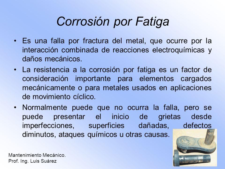 Corrosión por Fatiga Es una falla por fractura del metal, que ocurre por la interacción combinada de reacciones electroquímicas y daños mecánicos. La