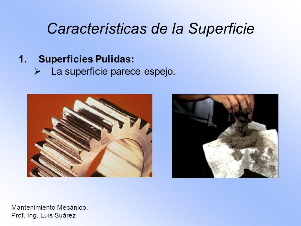 Características de la Superficie 1.Superficies Pulidas: La superficie parece espejo. Mantenimiento Mecánico. Prof. Ing. Luis Suárez