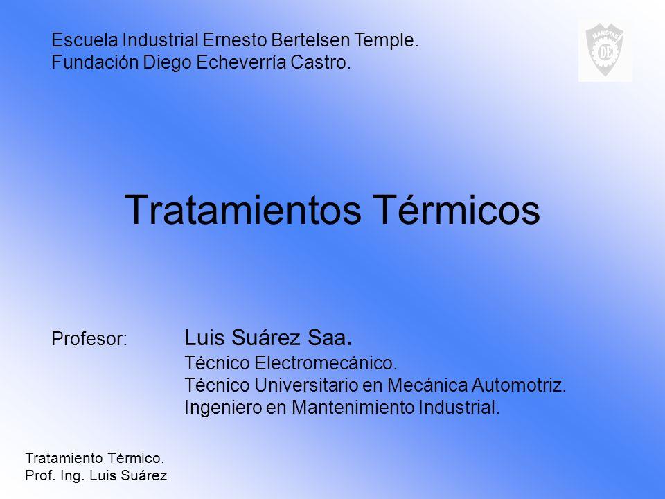 Tratamientos Térmicos Profesor: Luis Suárez Saa. Técnico Electromecánico. Técnico Universitario en Mecánica Automotriz. Ingeniero en Mantenimiento Ind