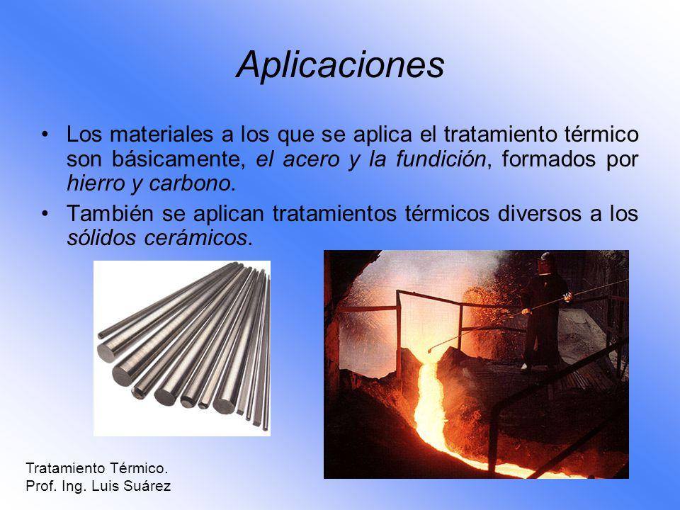 Los materiales a los que se aplica el tratamiento térmico son básicamente, el acero y la fundición, formados por hierro y carbono. También se aplican