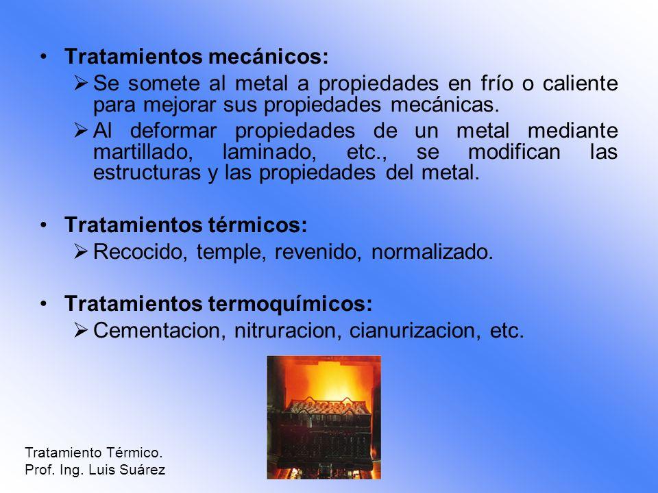 Tratamientos mecánicos: Se somete al metal a propiedades en frío o caliente para mejorar sus propiedades mecánicas. Al deformar propiedades de un meta