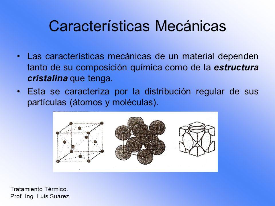 Características Mecánicas Las características mecánicas de un material dependen tanto de su composición química como de la estructura cristalina que t