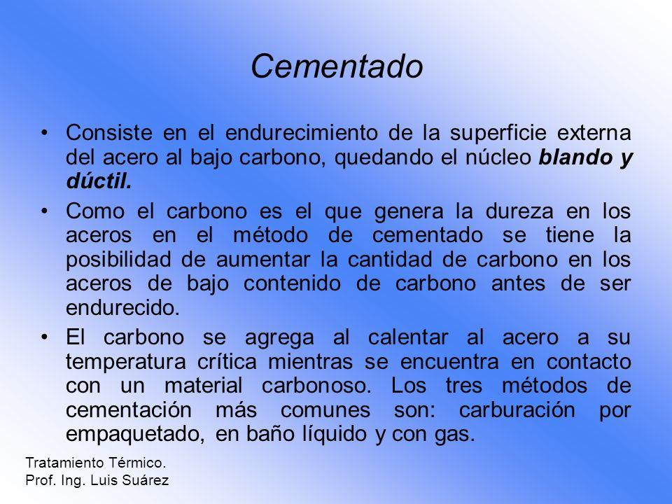 Cementado Consiste en el endurecimiento de la superficie externa del acero al bajo carbono, quedando el núcleo blando y dúctil. Como el carbono es el