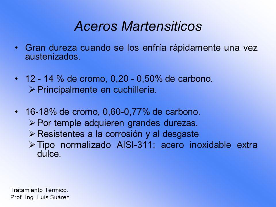 Gran dureza cuando se los enfría rápidamente una vez austenizados. 12 - 14 % de cromo, 0,20 - 0,50% de carbono. Principalmente en cuchillería. 16-18%