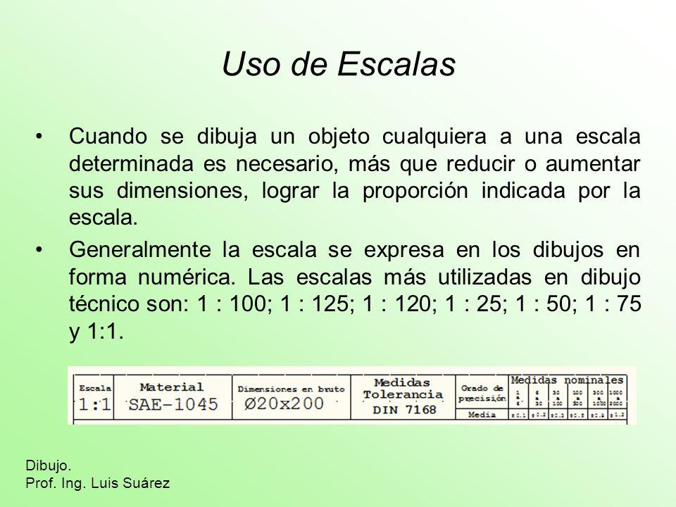 Uso de Escalas Cuando se dibuja un objeto cualquiera a una escala determinada es necesario, más que reducir o aumentar sus dimensiones, lograr la prop