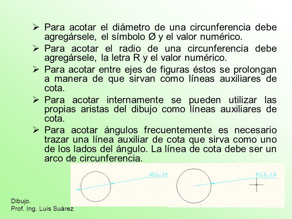 Para acotar el diámetro de una circunferencia debe agregársele, el símbolo Ø y el valor numérico. Para acotar el radio de una circunferencia debe agre