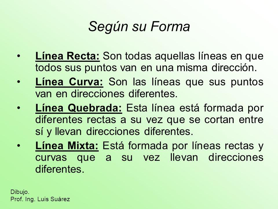 Según su Forma Línea Recta: Son todas aquellas líneas en que todos sus puntos van en una misma dirección. Línea Curva: Son las líneas que sus puntos v