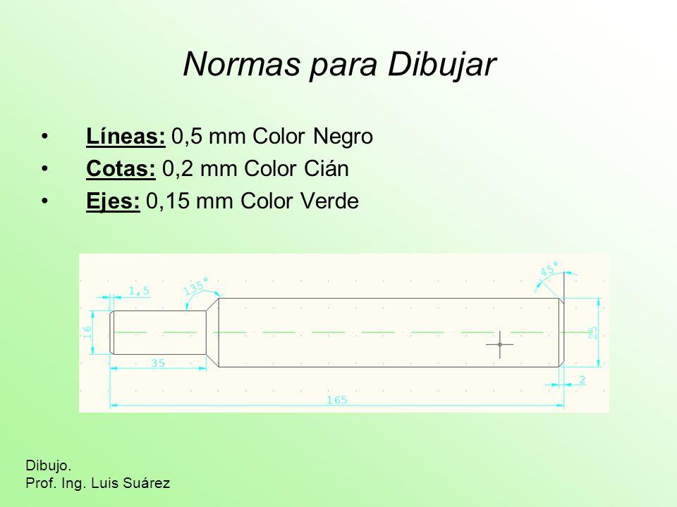 Normas para Dibujar Líneas: 0,5 mm Color Negro Cotas: 0,2 mm Color Cián Ejes: 0,15 mm Color Verde Dibujo. Prof. Ing. Luis Suárez