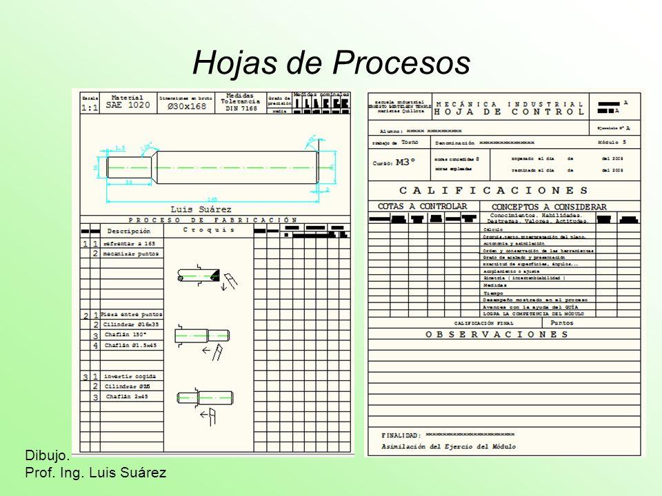 Hojas de Procesos Dibujo. Prof. Ing. Luis Suárez