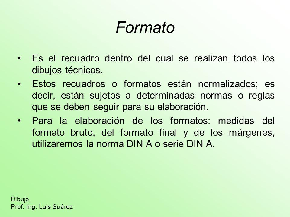 Formato Es el recuadro dentro del cual se realizan todos los dibujos técnicos. Estos recuadros o formatos están normalizados; es decir, están sujetos