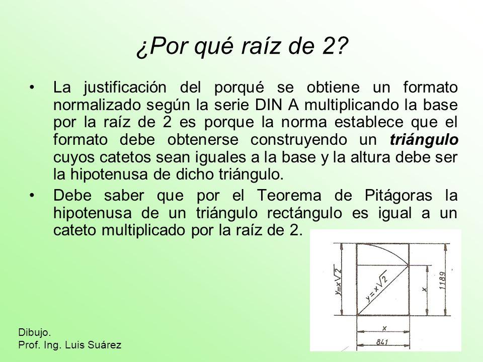 ¿Por qué raíz de 2? La justificación del porqué se obtiene un formato normalizado según la serie DIN A multiplicando la base por la raíz de 2 es porqu