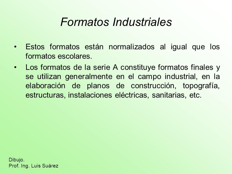 Formatos Industriales Estos formatos están normalizados al igual que los formatos escolares. Los formatos de la serie A constituye formatos finales y