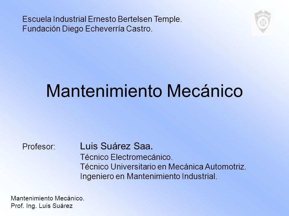 Mantenimiento Mecánico Profesor: Luis Suárez Saa. Técnico Electromecánico. Técnico Universitario en Mecánica Automotriz. Ingeniero en Mantenimiento In