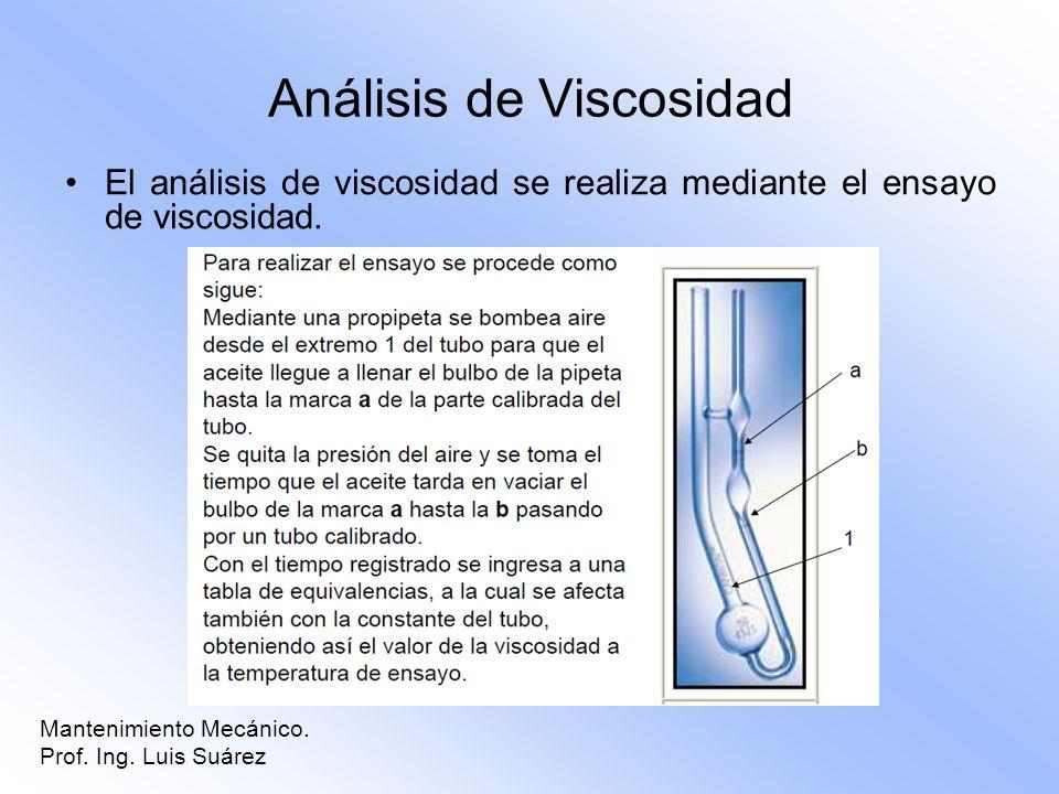 Análisis de Viscosidad El análisis de viscosidad se realiza mediante el ensayo de viscosidad. Mantenimiento Mecánico. Prof. Ing. Luis Suárez