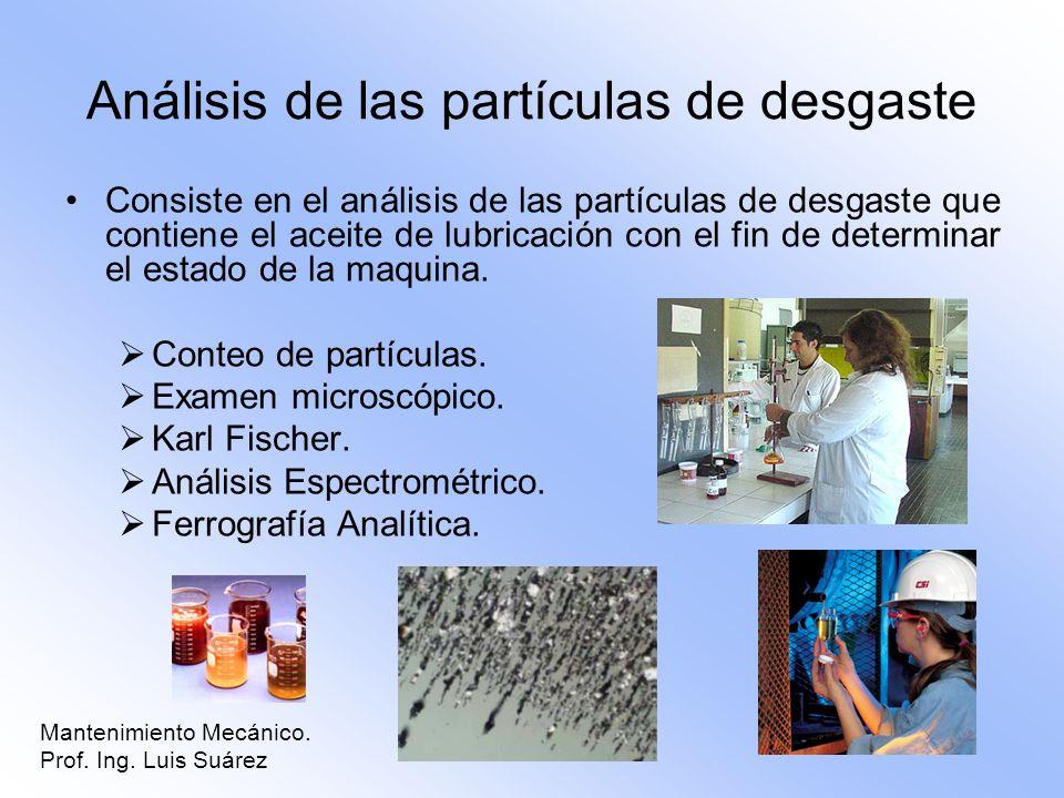 Análisis de las partículas de desgaste Consiste en el análisis de las partículas de desgaste que contiene el aceite de lubricación con el fin de deter