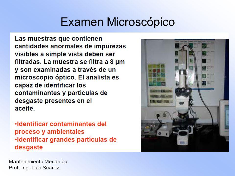 Mantenimiento Mecánico. Prof. Ing. Luis Suárez Examen Microscópico
