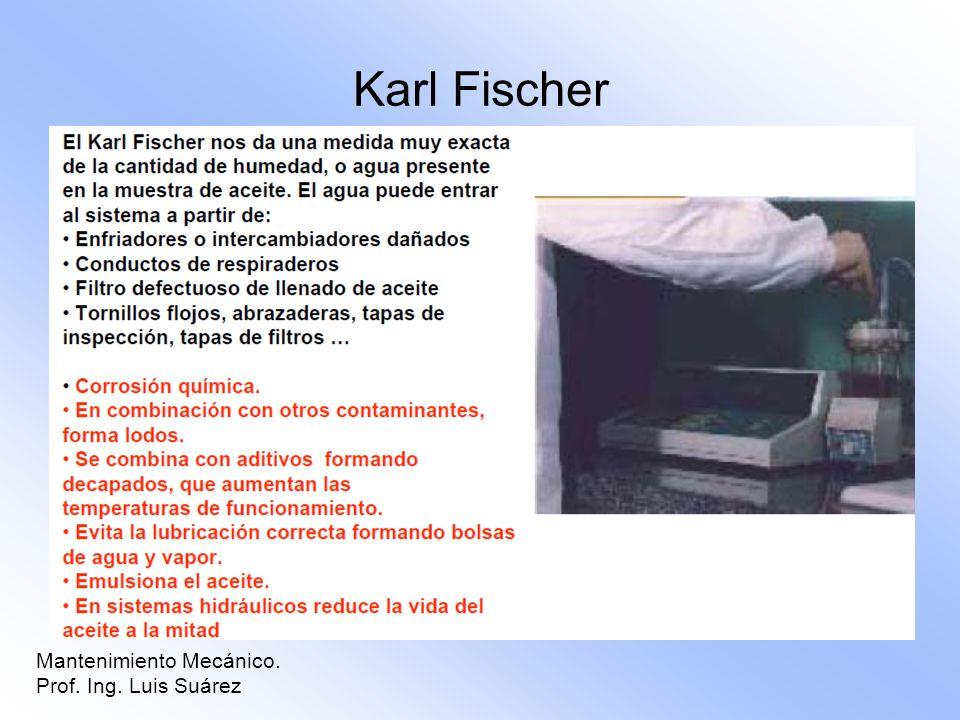 Mantenimiento Mecánico. Prof. Ing. Luis Suárez Karl Fischer