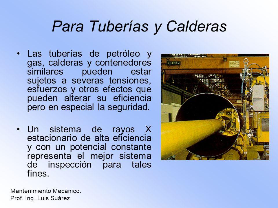 Para Tuberías y Calderas Las tuberías de petróleo y gas, calderas y contenedores similares pueden estar sujetos a severas tensiones, esfuerzos y otros