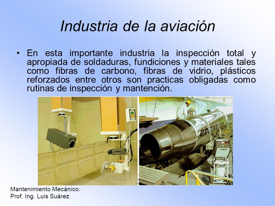 Industria de la aviación En esta importante industria la inspección total y apropiada de soldaduras, fundiciones y materiales tales como fibras de car