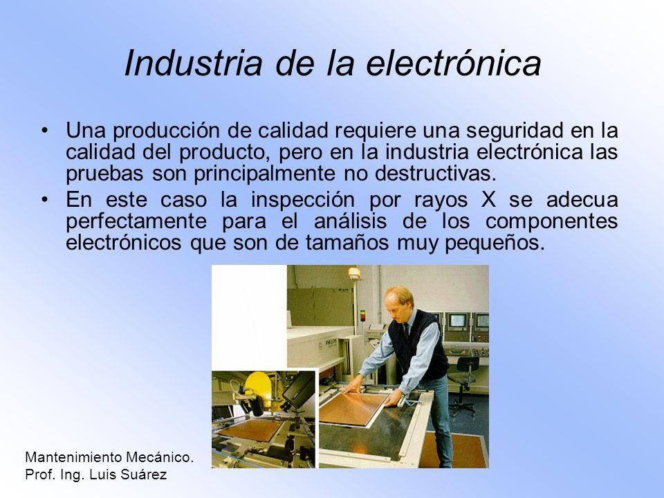 Industria de la electrónica Una producción de calidad requiere una seguridad en la calidad del producto, pero en la industria electrónica las pruebas