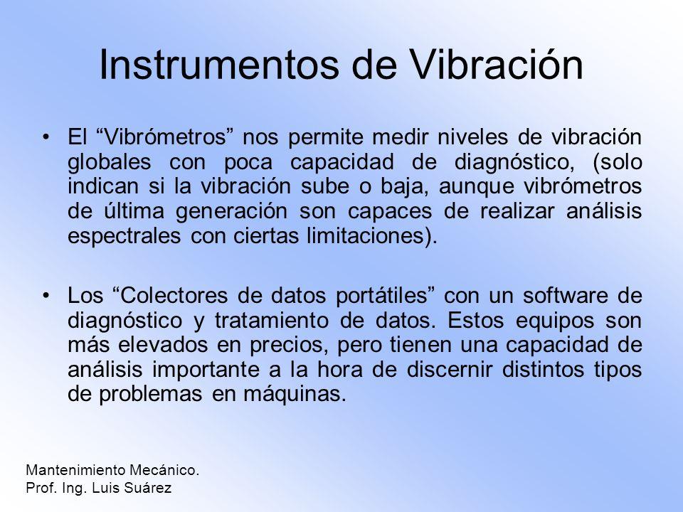 Instrumentos de Vibración El Vibrómetros nos permite medir niveles de vibración globales con poca capacidad de diagnóstico, (solo indican si la vibrac