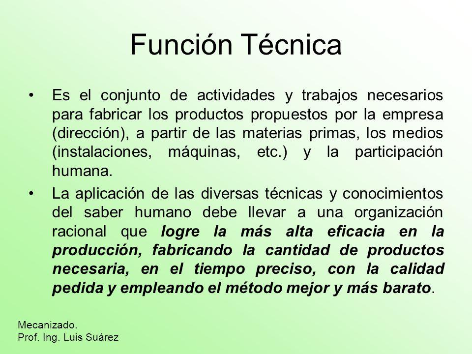La función técnica debe realizar estas tareas fundamentales, de las cuales se encargan los correspondientes departamentos: –Preparación del trabajo: Oficina Técnica.