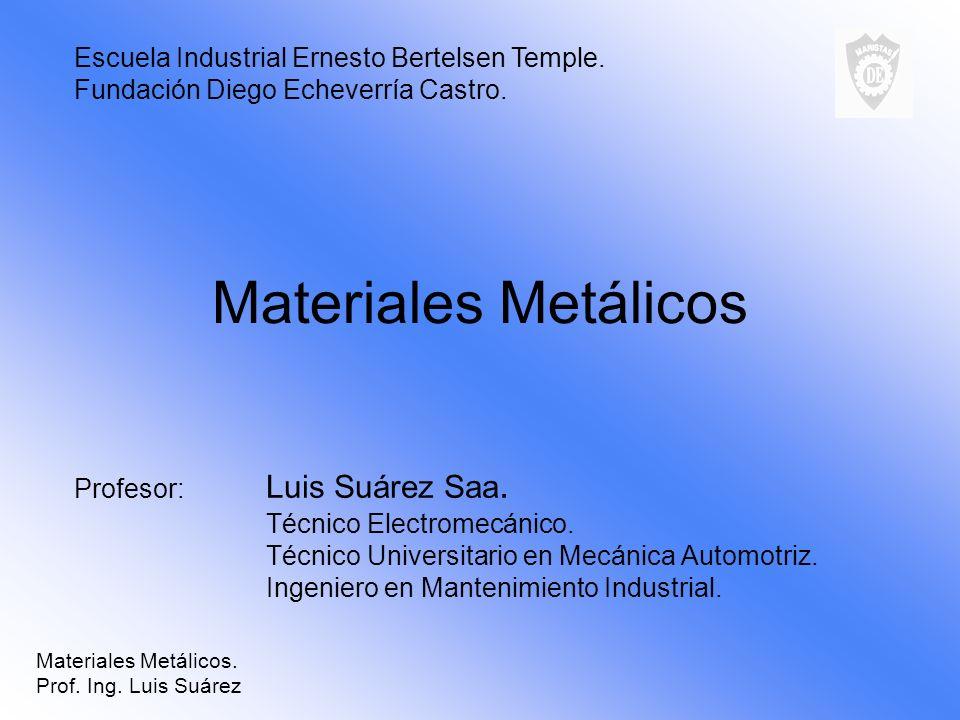 Materiales Metálicos Profesor: Luis Suárez Saa. Técnico Electromecánico. Técnico Universitario en Mecánica Automotriz. Ingeniero en Mantenimiento Indu
