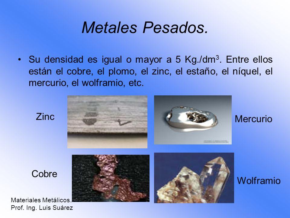 Metales Pesados. Su densidad es igual o mayor a 5 Kg./dm 3. Entre ellos están el cobre, el plomo, el zinc, el estaño, el níquel, el mercurio, el wolfr
