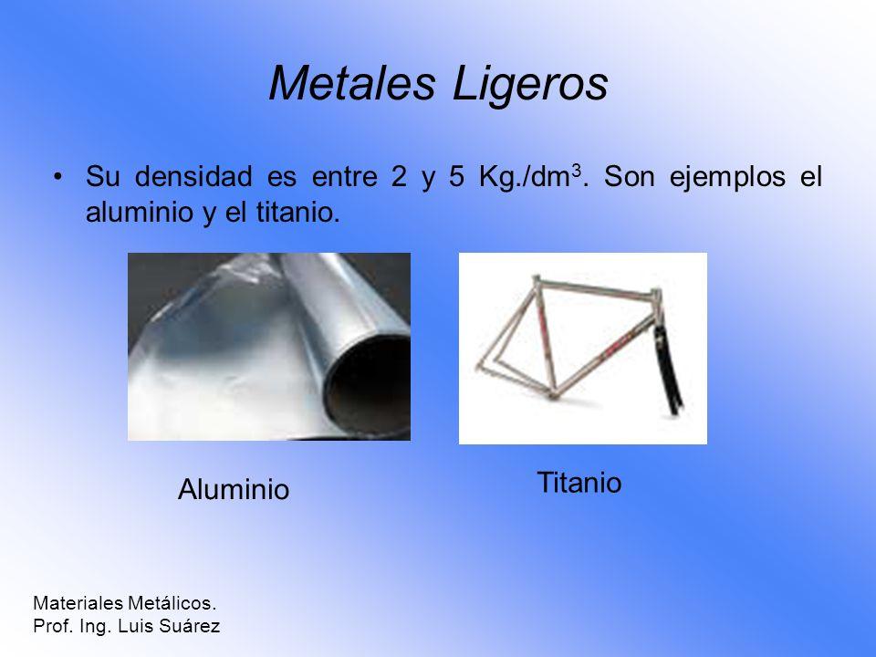 Metales Ligeros Su densidad es entre 2 y 5 Kg./dm 3. Son ejemplos el aluminio y el titanio. Aluminio Titanio Materiales Metálicos. Prof. Ing. Luis Suá