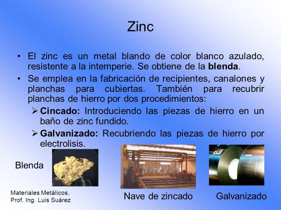 Zinc El zinc es un metal blando de color blanco azulado, resistente a la intemperie. Se obtiene de la blenda. Se emplea en la fabricación de recipient