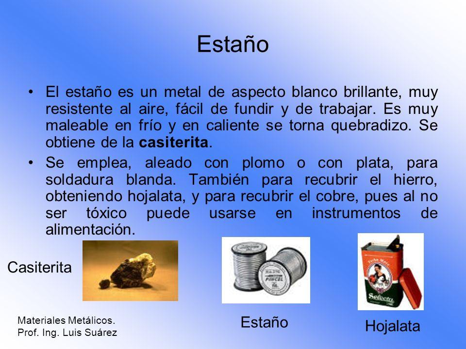 Estaño El estaño es un metal de aspecto blanco brillante, muy resistente al aire, fácil de fundir y de trabajar. Es muy maleable en frío y en caliente