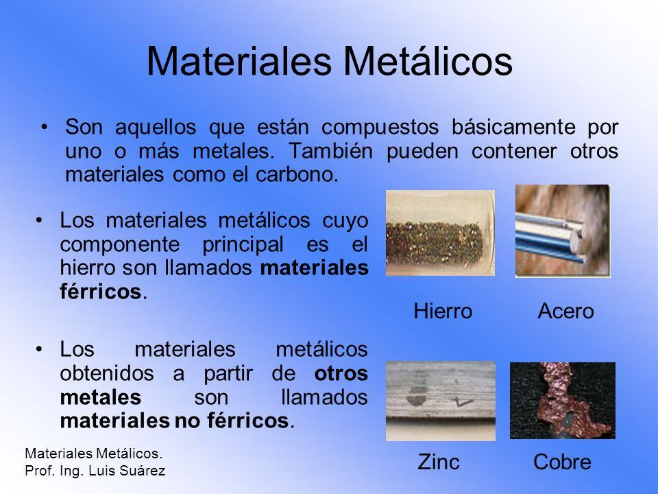 Materiales Metálicos Son aquellos que están compuestos básicamente por uno o más metales. También pueden contener otros materiales como el carbono. Ma