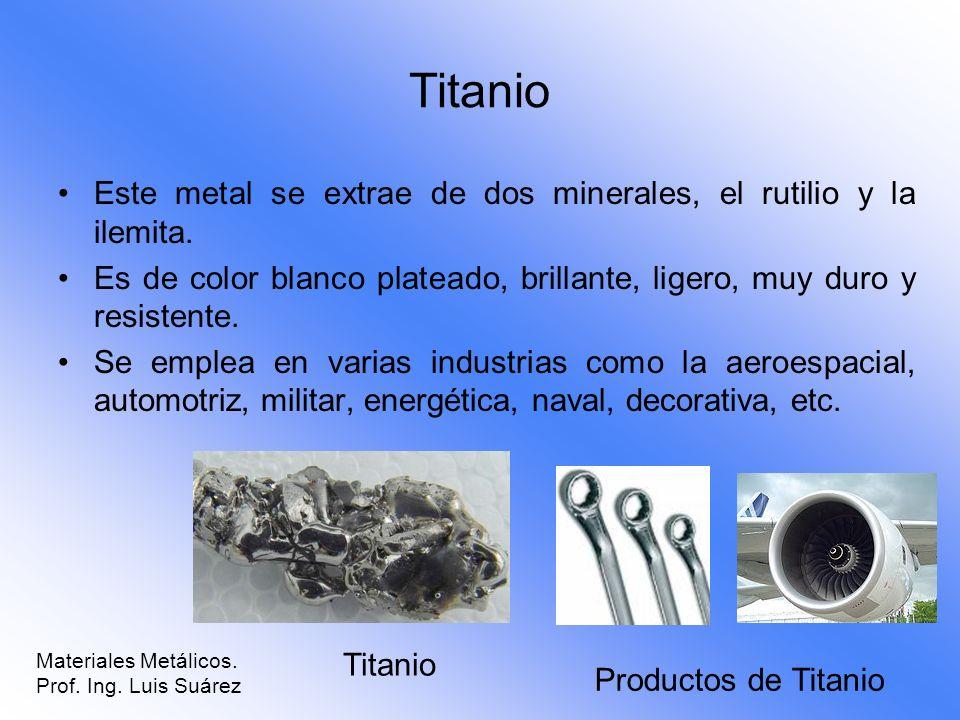 Titanio Este metal se extrae de dos minerales, el rutilio y la ilemita. Es de color blanco plateado, brillante, ligero, muy duro y resistente. Se empl
