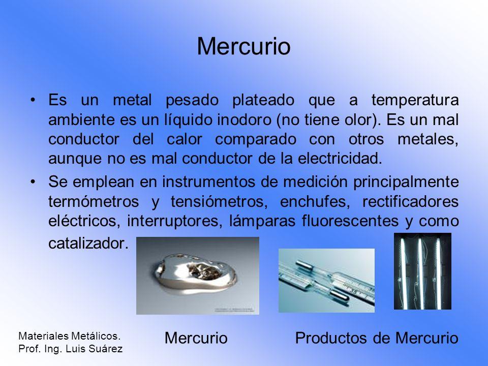 Mercurio Es un metal pesado plateado que a temperatura ambiente es un líquido inodoro (no tiene olor). Es un mal conductor del calor comparado con otr