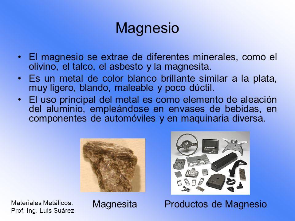Magnesio El magnesio se extrae de diferentes minerales, como el olivino, el talco, el asbesto y la magnesita. Es un metal de color blanco brillante si