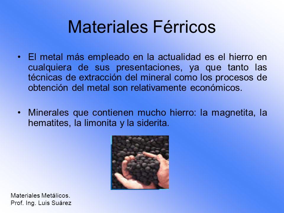 Materiales Férricos El metal más empleado en la actualidad es el hierro en cualquiera de sus presentaciones, ya que tanto las técnicas de extracción d