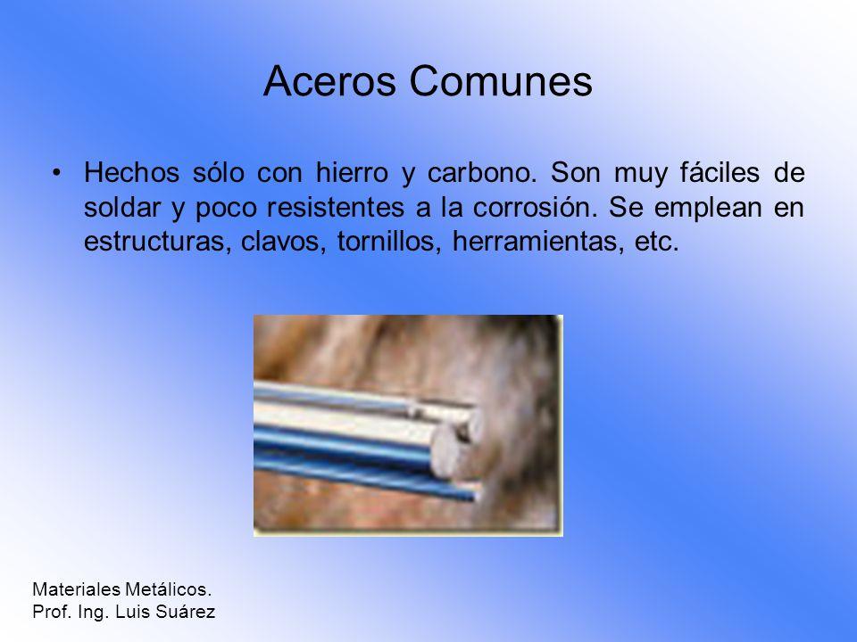 Aceros Comunes Hechos sólo con hierro y carbono. Son muy fáciles de soldar y poco resistentes a la corrosión. Se emplean en estructuras, clavos, torni