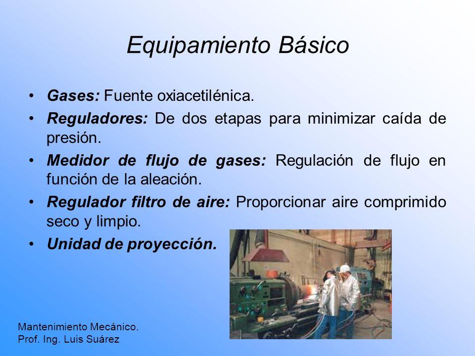 Equipamiento Básico Gases: Fuente oxiacetilénica. Reguladores: De dos etapas para minimizar caída de presión. Medidor de flujo de gases: Regulación de