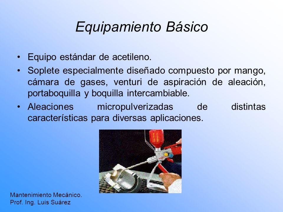 Equipamiento Básico Equipo estándar de acetileno. Soplete especialmente diseñado compuesto por mango, cámara de gases, venturi de aspiración de aleaci