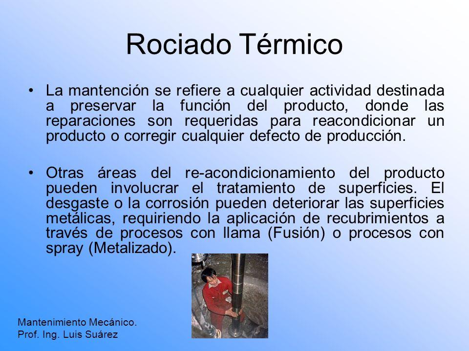 Rociado Térmico La mantención se refiere a cualquier actividad destinada a preservar la función del producto, donde las reparaciones son requeridas pa