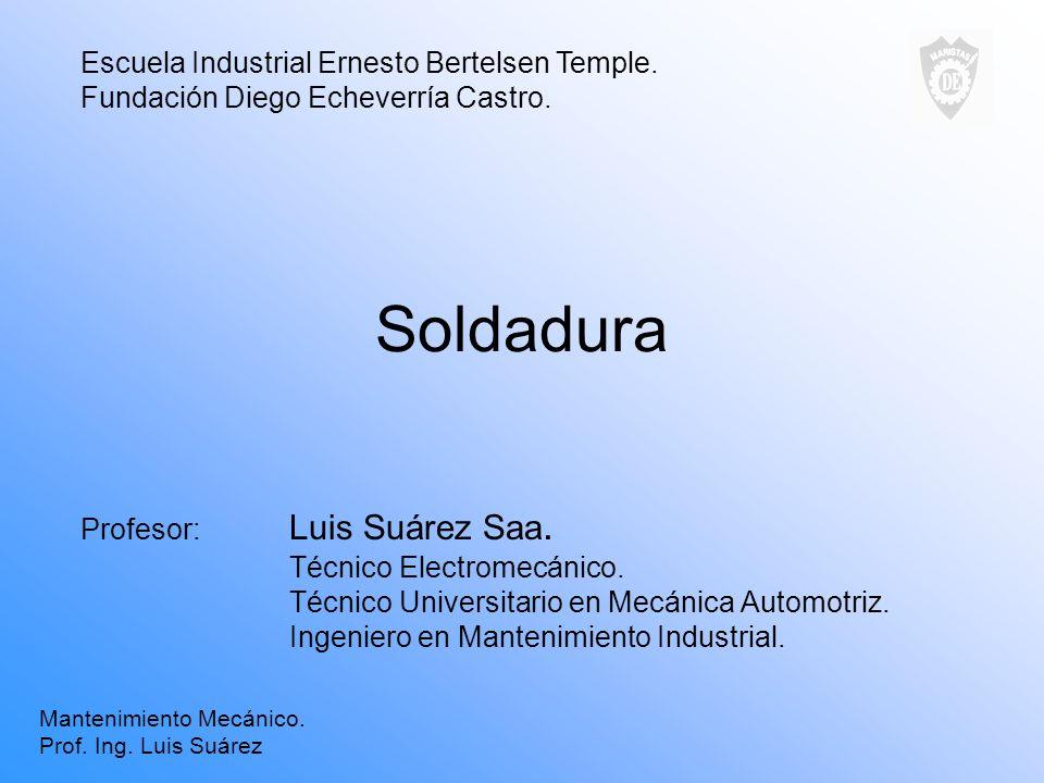 Soldadura Profesor: Luis Suárez Saa. Técnico Electromecánico. Técnico Universitario en Mecánica Automotriz. Ingeniero en Mantenimiento Industrial. Esc