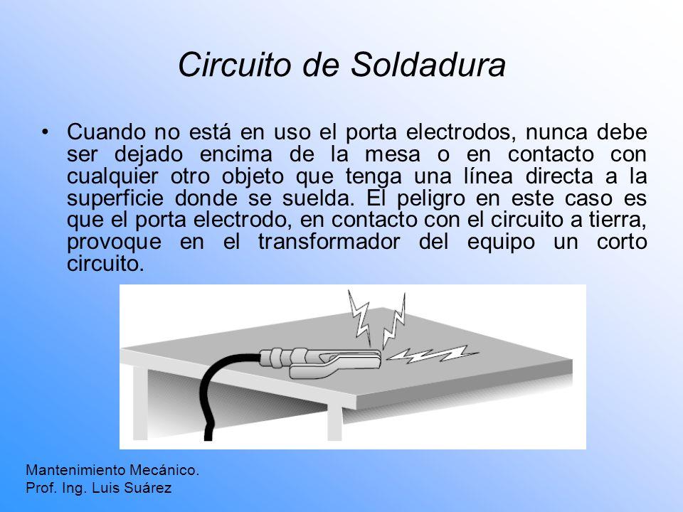 Circuito de Soldadura Cuando no está en uso el porta electrodos, nunca debe ser dejado encima de la mesa o en contacto con cualquier otro objeto que t