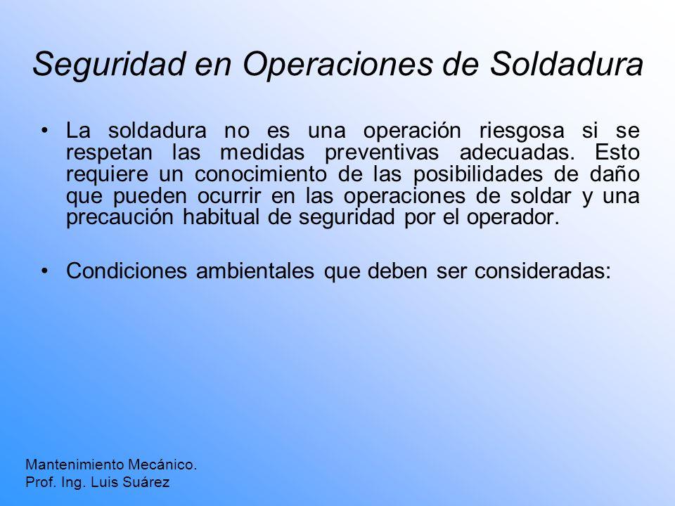Seguridad en Operaciones de Soldadura La soldadura no es una operación riesgosa si se respetan las medidas preventivas adecuadas. Esto requiere un con