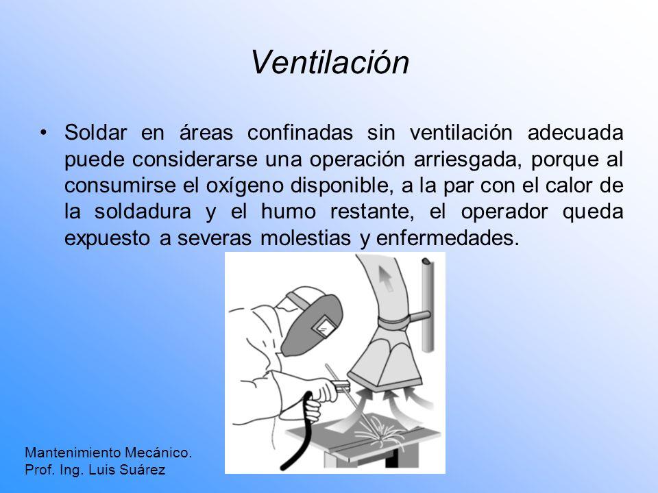 Ventilación Soldar en áreas confinadas sin ventilación adecuada puede considerarse una operación arriesgada, porque al consumirse el oxígeno disponibl