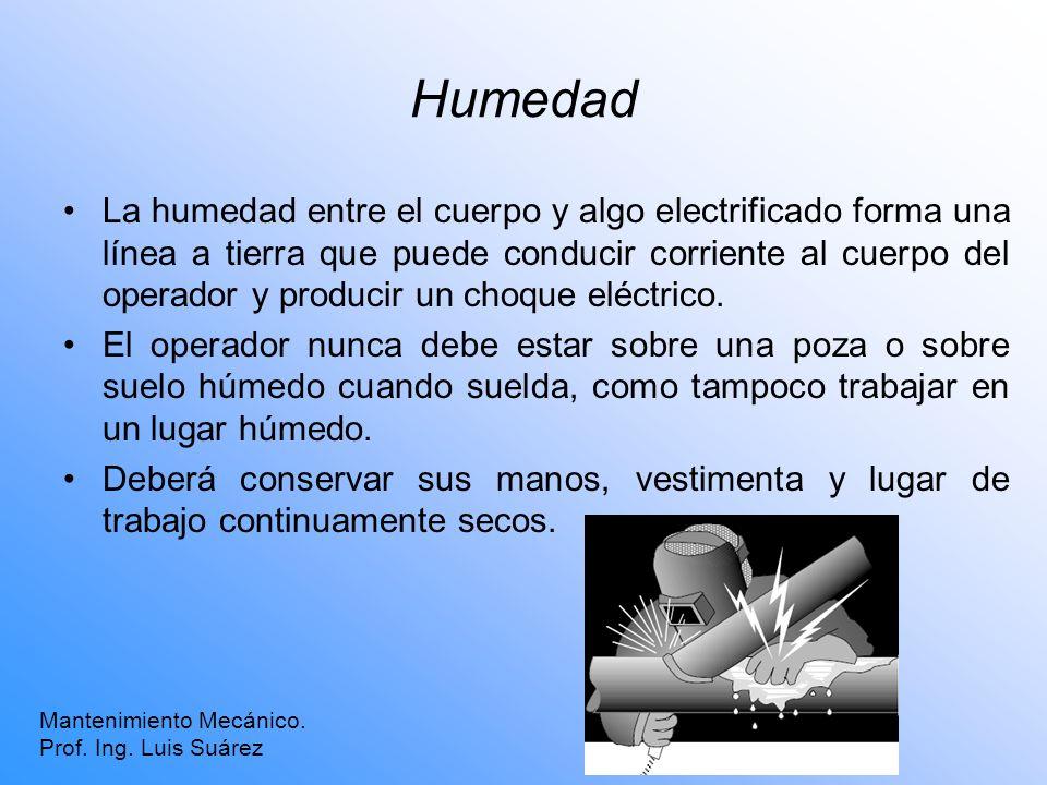 Humedad La humedad entre el cuerpo y algo electrificado forma una línea a tierra que puede conducir corriente al cuerpo del operador y producir un cho